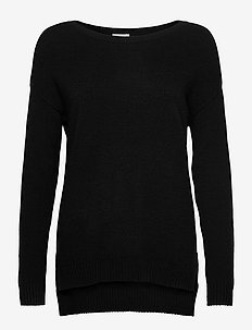VIRIL HIGH LOW L/S KNIT TOP - NOOS - knitted tops & t-shirts - black
