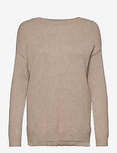 VIRIL HIGH LOW L/S KNIT TOP - NOOS - knitted tops & t-shirts - natural melange