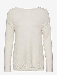 VIRIL HIGH LOW L/S KNIT TOP - NOOS - hauts tricotés - white alyssum