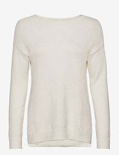 VIRIL HIGH LOW L/S KNIT TOP - NOOS - stickade toppar & t-shirts - white alyssum