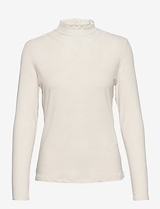 VISOLITTA RIB LACE L/S TOP/SU - NOOS - long-sleeved tops - birch