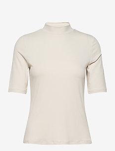VISOLITTA RIB FUNNELNECK 2/4 TOP/SU-NOOS - t-shirts - birch
