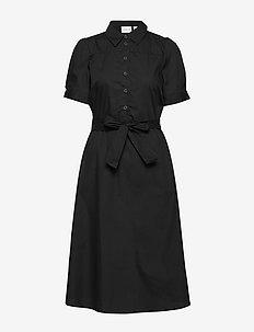 VINYALA MIDI S/S DRESS - robes chemises - black