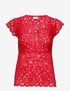 VITAINI S/L LACE TOP - kortärmade blusar - flame scarlet