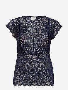 VITAINI S/L LACE TOP - short-sleeved blouses - navy blazer