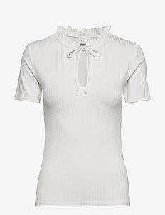 VIATHALIA S/S TIE TOP - kortærmede bluser - whisper white