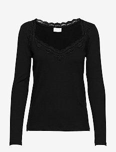 VISOFI L/S SQUARENECK  TOP - long-sleeved tops - black