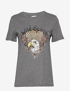 VITABITA S/S T-SHIRT/KI - t-shirts med tryk - medium grey melange