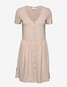 VIANIKA S/S DRESS - do kolan & midi sukienki - natural melange