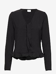 VIRASHA L/S CROPPED TOP/L - long-sleeved tops - black