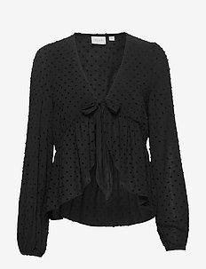 VISYS L/S TIE TOP/SU - long sleeved blouses - black