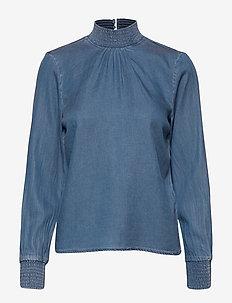VIBISTO L/S SMOCK TOP - basic t-shirts - light blue denim
