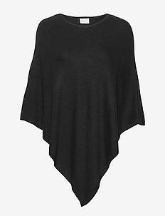 VIBOLONIA KNIT O-NECK PONCHO/1 - ponchos & capes - black