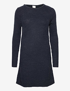 VISURIL KNIT O-NECK L/S DRESS/SU TB - korte kjoler - navy blazer