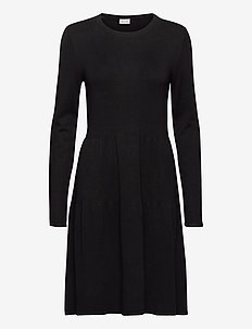 VIBOLONSIA KNIT L/S DRESS TB - midi dresses - black