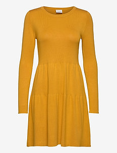 VIBOLONSIA KNIT L/S DRESS TB - midi kjoler - mineral yellow