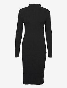 VISOLTO KNIT BUTTON L/S DRESS/SU - midi kjoler - black