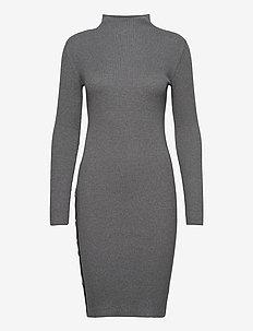 VISOLTO KNIT BUTTON L/S DRESS/SU - midi dresses - medium grey melange