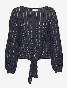 VIPILINE L/S T-SHIRT/3 - long sleeved blouses - navy blazer