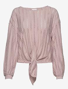 VIPILINE L/S T-SHIRT/3 - long sleeved blouses - pale mauve