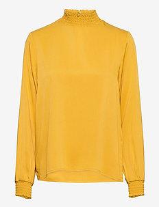 VIDANIA SMOCK L/S TOP/SU - FAV - langærmede bluser - mineral yellow