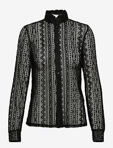 VIJENNA L/S LACE SHIRT - langærmede bluser - black