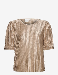 VIPLEASA 2/4 SLEEVE TOP - t-shirts - simply taupe
