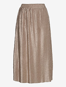 VIPLEASA HW MIDI SKIRT/DES - maxi skirts - simply taupe