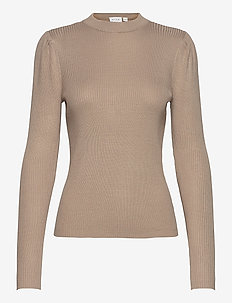 VIPOPSA KNIT CREW  NECK L/S TOP - jumpers - simply taupe