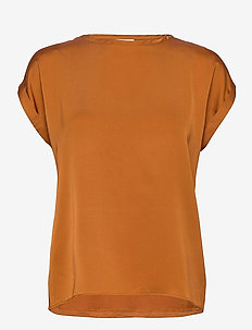 VIELLETTE S/S SATIN TOP/SU - - t-shirts - adobe