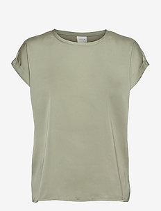 VIELLETTE S/S SATIN TOP/SU - - t-shirts - desert sage
