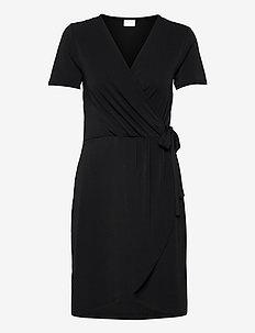 VINAYELI S/S  KNEE WRAP DRESS/SU - sommerkjoler - black