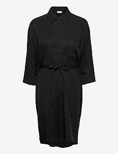 VIFLORIA 3/4 SLEEVE SHIRT DRESS/SU - korte kjoler - black