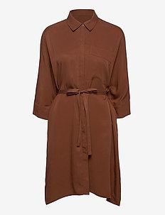 VIFLORIA 3/4 SLEEVE SHIRT DRESS/SU - short dresses - tortoise shell