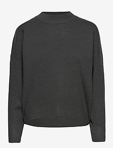 VIOLIVINJA KNIT HIGH NECK L/S TOP/SU - stickade toppar & t-shirts - dark grey melange