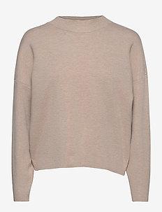 VIOLIVINJA KNIT HIGH NECK L/S TOP/SU - knitted tops & t-shirts - natural melange