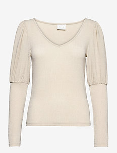VISHINNI GLITTER V-NECK L/S TOP - hauts à manches longues - frosted almond