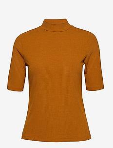 VISOLITTA RIB FUNNELNECK 2/4 TOP/SU -FAV - t-shirts - pumpkin spice