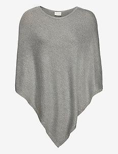 VIBOLONIA O-NECK KNIT PONCHO/2 - ponchos & capes - light grey melange