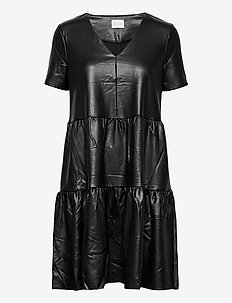 VINUGGI COATED S/S DRESS - korte kjoler - black