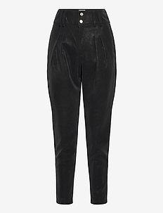 VIWILIA HW 7/8 COATED PANTS - raka byxor - black