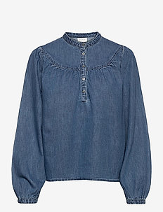 VITYKA L/S TOP /L - blouses med lange mouwen - medium blue denim