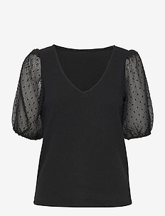 VIAZURE REV V-NECK 2/4 TOP/SU - kortærmede bluser - black