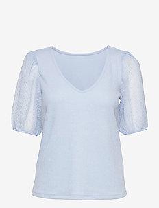 VIAZURE REV V-NECK 2/4 TOP/SU - kortärmade blusar - cashmere blue