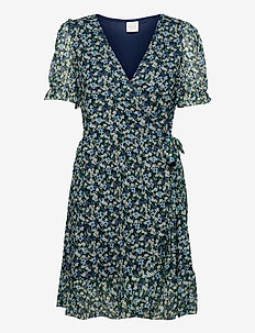 VIVOLETTE COTTAGE S/S WRAP DRESS - sommerkjoler - navy blazer