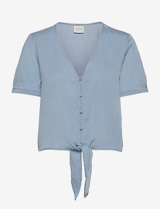 VIMIRA BISTA S/S SHIRT/SU - kortärmade blusar - light blue denim