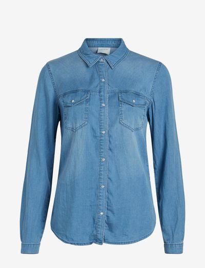 VIBISTA DENIM SHIRT/SU - langærmede skjorter - medium blue denim