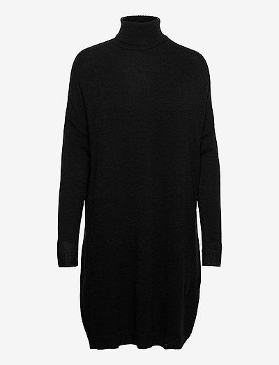VIRIL ROLLNECK L/S KNIT TUNIC - - strikkede kjoler - black