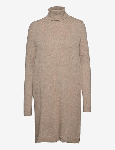 VIRIL ROLLNECK L/S KNIT TUNIC - - strikkede kjoler - natural melange