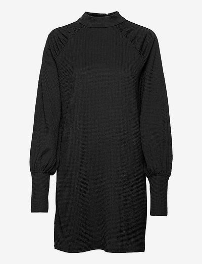 VINEYA HIGH NECK PUFF L/S DRESS - hverdagskjoler - black